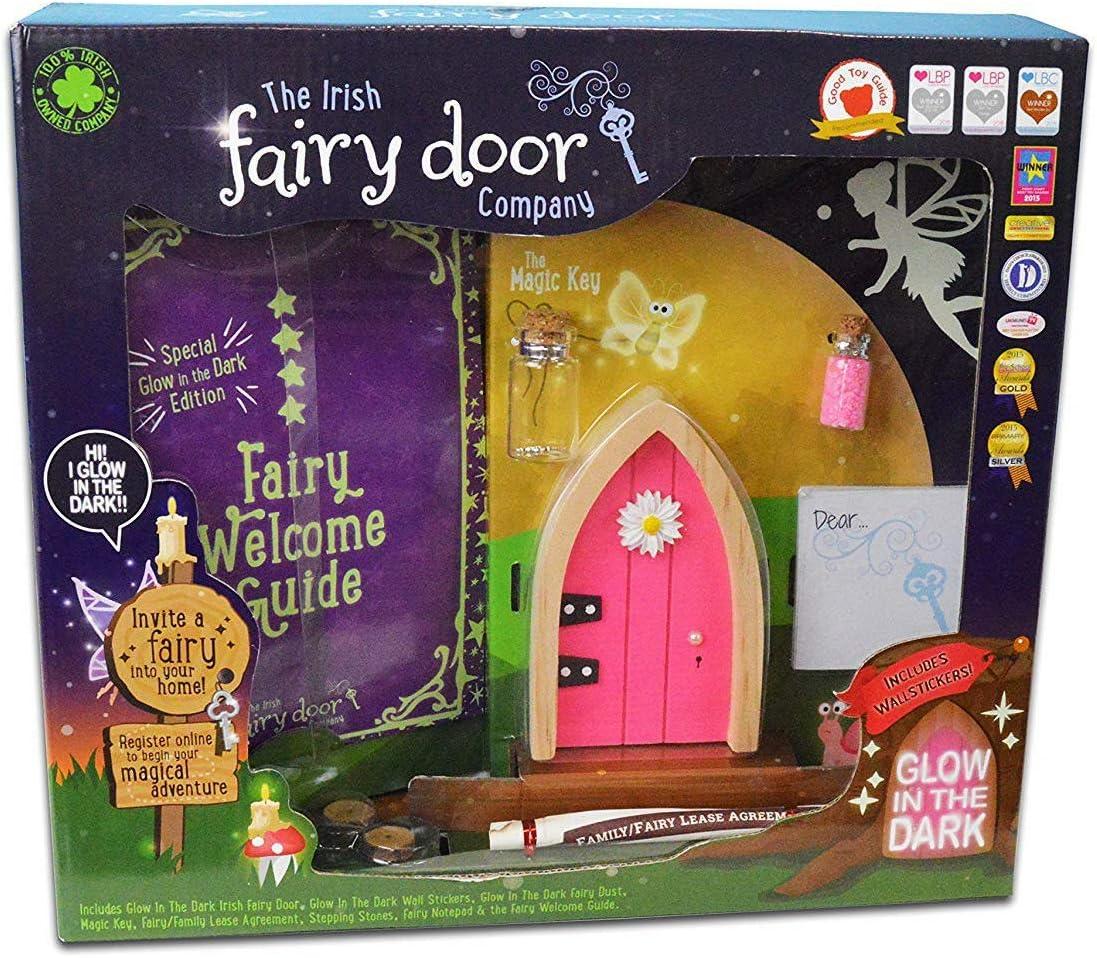 The Irish Fairy Door Company Glow In The Dark Pink Fairy Door Kit FD28