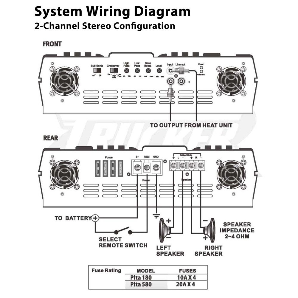 Pyle Plt Stereo Wiring Diagram Library Mosfet Amplifier Amazoncom Plta180 2 Channel 800 Watt 24 Volt Truck Bus