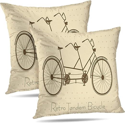 TABUE 18X18inch Fundas de Almohada Bicicleta Bicicleta Retro ...