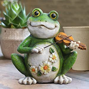 Garden Decor Sculptures Statues Outdoor, Frog Yard Decor Gardening Gifts for Christmas Figurine Decorations for Lawn Patio Pool Home