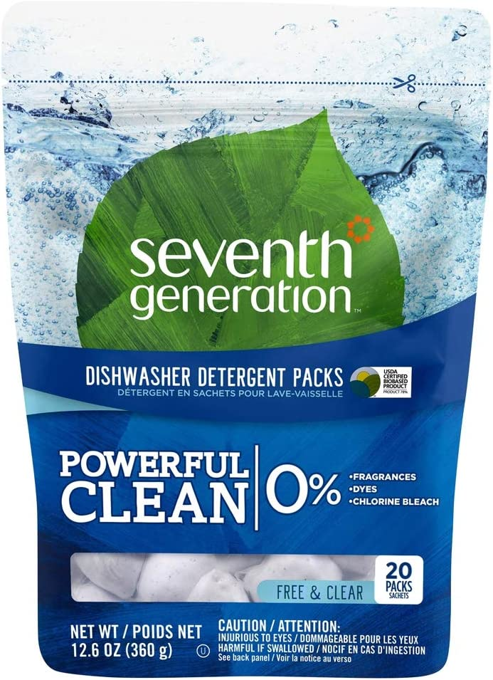 Seventh Generation Automatic Dishwasher Detergent Pacs, Free & Clear 20 Each, 4pk