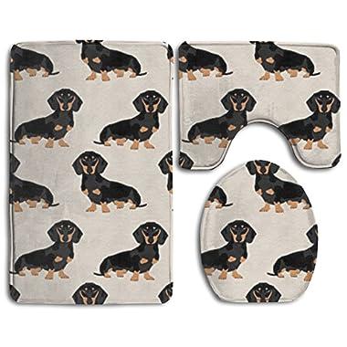 Wiener Dog Fabric Doxie Dachshund Weiner Dog Pet Dogs Bath Mat Set,3 Piece Bathroom Mats Set Non-Slip Bathroom Rugs/Contour Mat/Toilet Cover