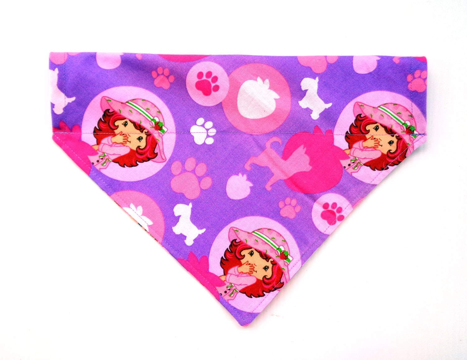 Valentines Easter Reversible Purple Pink Hats Paws Strawberry Prints No Tie Slip Over the Collar Cat Dog Bandana
