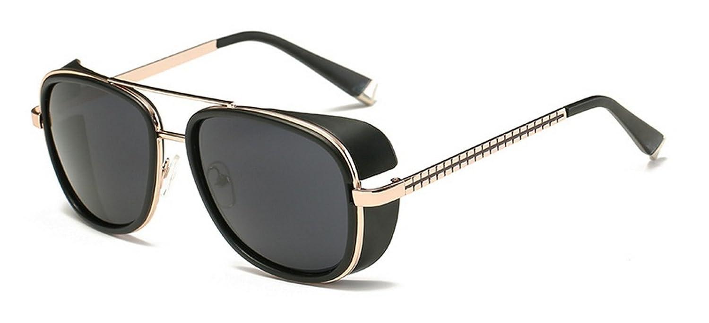 f939275a379 Pomo-Z Tony Stark Aviator Iron Man Steampunk Unisex Sunglasses(Aa-Gldmn