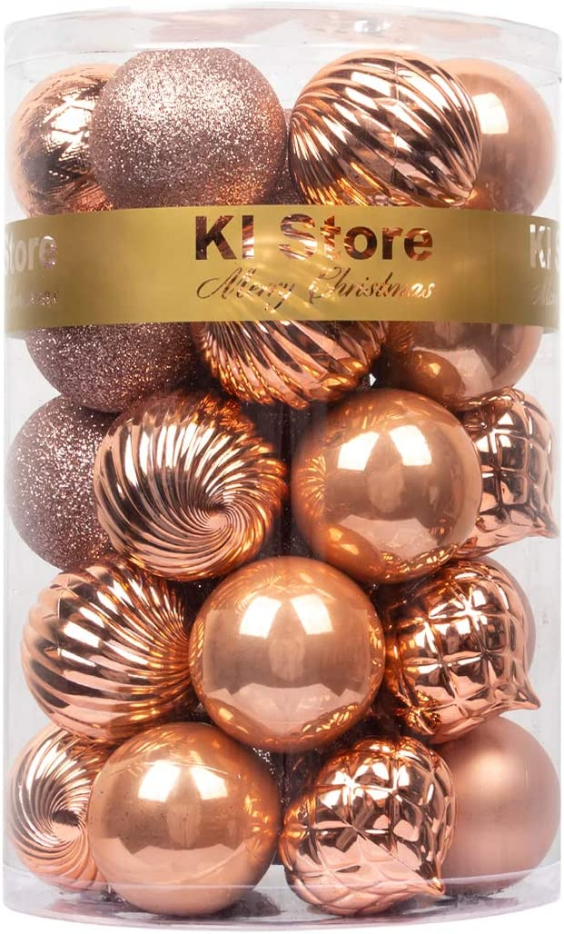KI Store Christmas Balls Rose Gold 34pcs Shatterproof Christmas Tree Ball Ornaments Decorations for Xmas Trees Wedding Party Home Decor 2.36-Inch Hooks Included