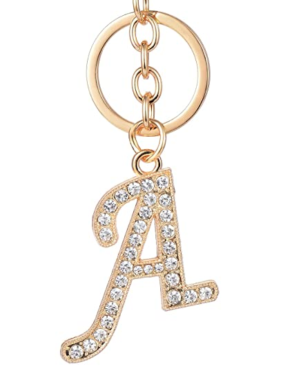 Amazon.com  Keychain for Women AlphaAcc Purse Charms for Handbags Crystal Alphabet  Initial Letter Pendant with Key Ring e74aa04a4e