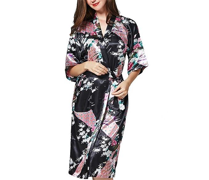 Refuelr Bata de baño Bata de Mujer Batas de Kimono Vestidos de Seda de Pijamas Batas