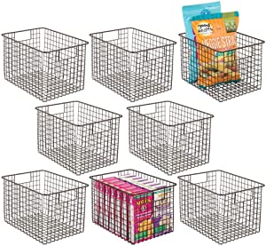 "mDesign Farmhouse Decor Metal Wire Food Storage Organizer, Bin Basket with Handles for Kitchen Cabinets, Pantry, Bathroom, Laundry Room, Closets, Garage, 12"" x 9"" x 8"" - 8 Pack - Bronze"