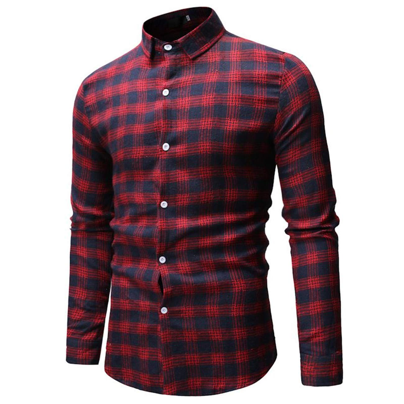 Mens Long-Sleeved Leisure and Fashion3 Color Button Down Checked Shirt