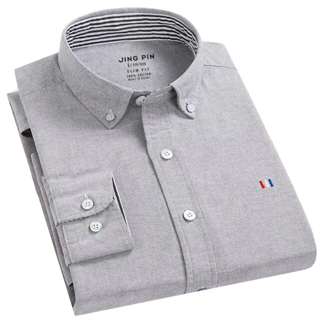 Macondoo Mens Fashion Lapel Button-Down Slim Fit Pure Color Long Sleeve Shirts