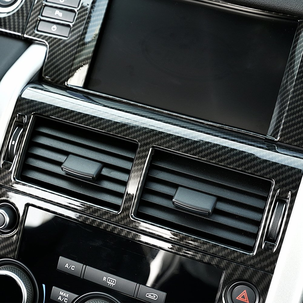 Superficie in fibra di carbonio per Discovery sport 2015 2016 2017 ABS Center console climatizzatore Vent Outlet Trim auto accessori 1PC BEINSTOCK
