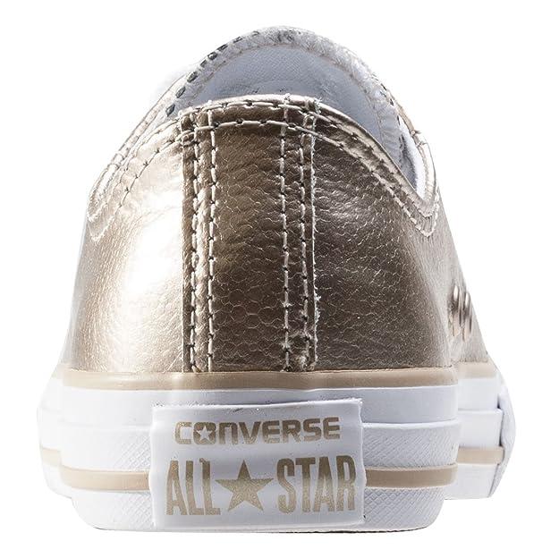 Converse Chuck Taylor All Star Junior Luce Oro Metallizzato, in Pelle, (Light Gold/White), 31 EU Child
