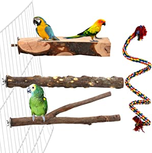 Aodaer 4 Pcs Wood Bird Perch Natural Wooden Parrot Perch Stand Platform Exercise Climbing Paw Grinding Toy Playground Accessory Comfy Perch Bird Rope for Parakeet, Conure, Cockatiel, Budgie, Lovebirds