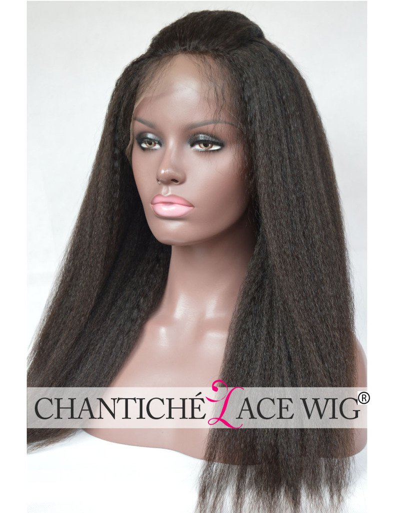 Chantiche Natural Looking Italian Yaki Glueless Full Lace Wigs with Baby Hair for Black Women Best Brazilian Remy Human Hair Wig 130 Density 16inch Natural Color by Chantiche Lace Wig (Image #3)