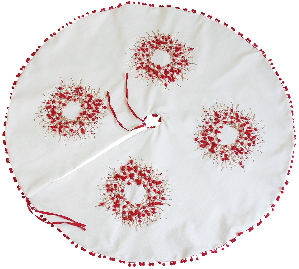 Xia Home Fashions Holiday Berry Wreath Ribbon and Pom Pom Embroidered Christmas Tree Skirt, 60-Inch
