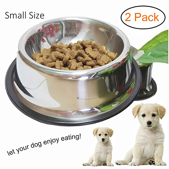 WHIPPY Stainless Steel Dog Bowl for Small,Medium and Large Pets Set of 2