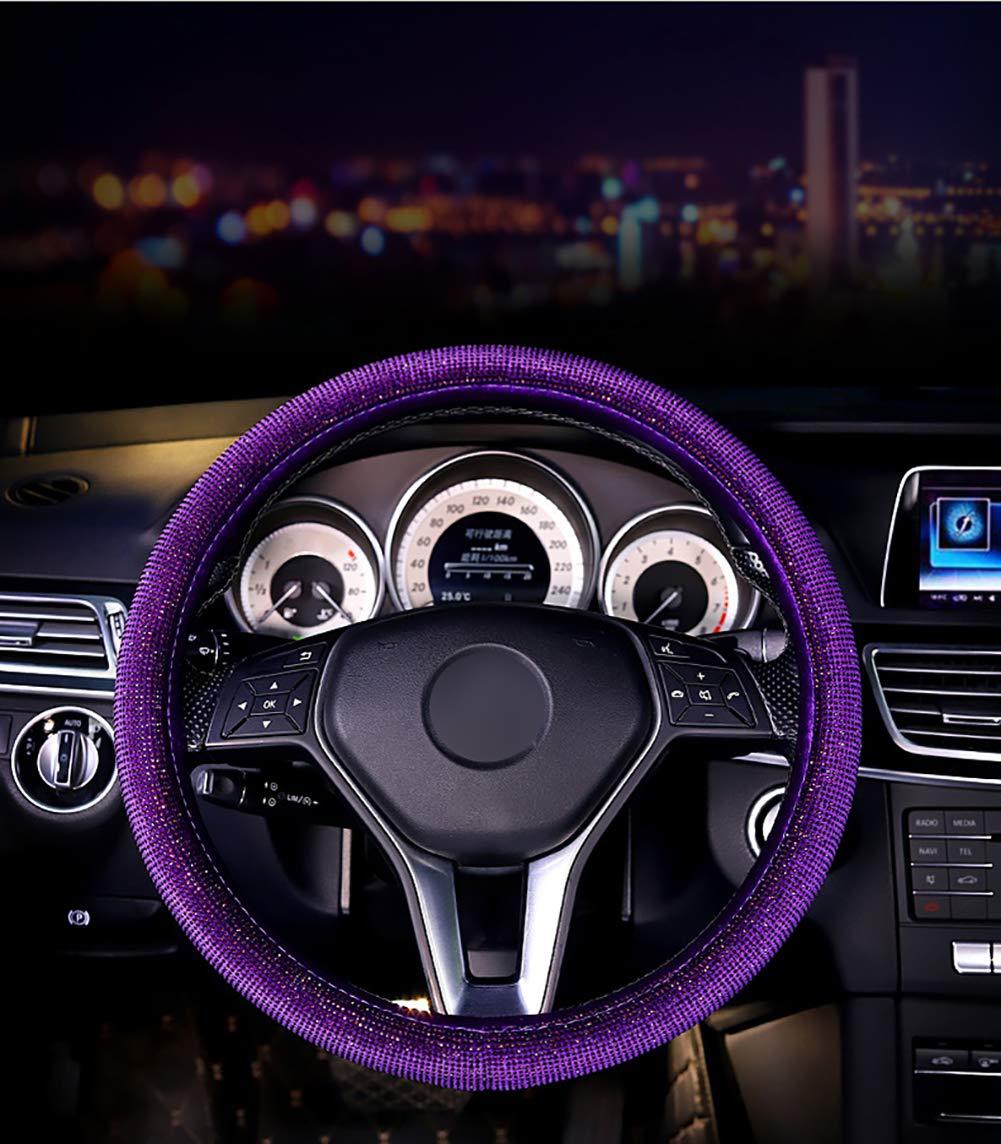 KRUIHAN Automobile Couvre Volant Antid/érapant Auto Enveloppe de Voiture Cristal Flash Fille Accessoires Int/érieurs Dautomobile Violet