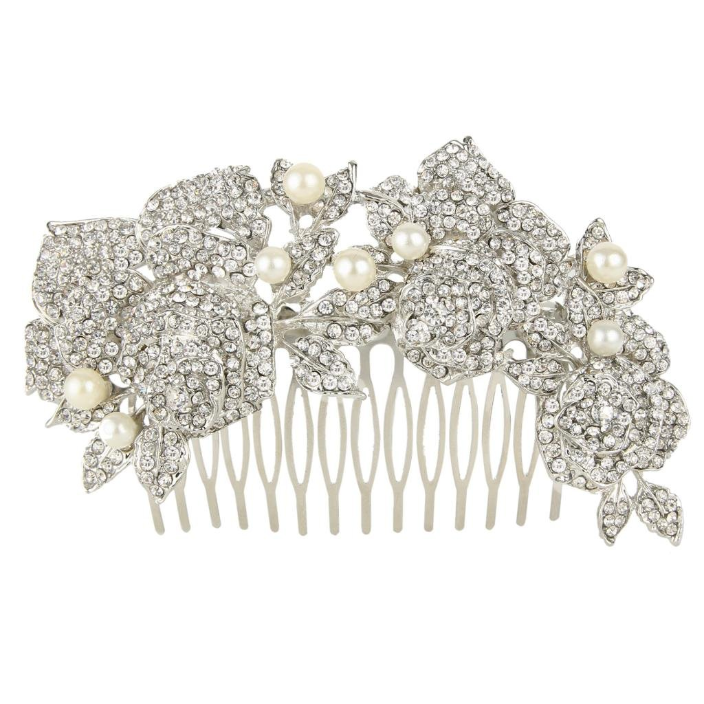 Ever Faith Bridal 3 Rose Austrian Crystal Simulated Pearl 4.6 Inch Hair Comb A13538-3