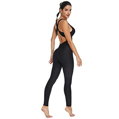 FITTOO Womens Sexy Backless Workout Romper Jumpsuit Textured One Piece Activewear: Clothing