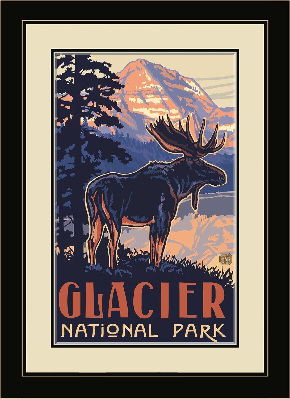 13 x 16 Northwest Art Mall PAL-4918 MFGDM BM Glacier National Park Moose Framed Wall Art by Artist Paul A Lanquist