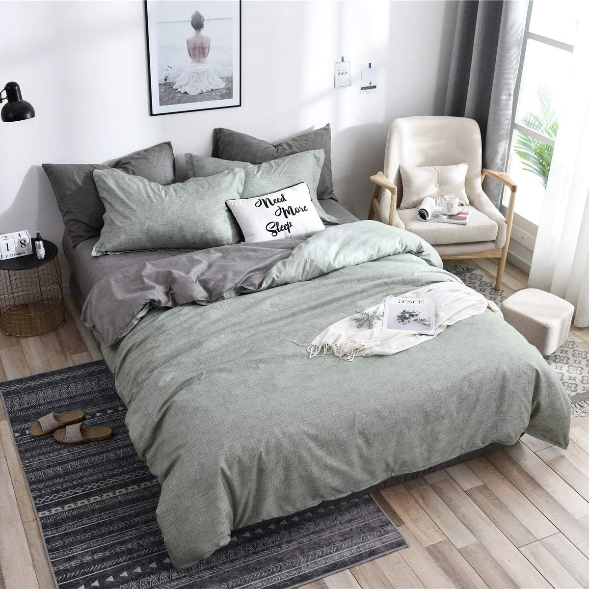 QZY Baumwolle Bettw/äsche 135x200 cm Grau 2er Set Bettbezug mit Kopfkissenbezug 80x80 cm