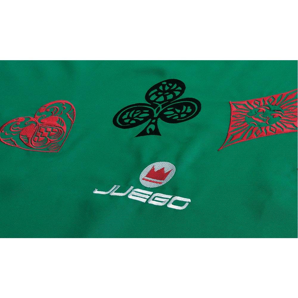 Juego JU00605 - Poker Embroidery Green, panno con ricamo e semi internazionali, Dimensioni 180 x 140 cm - Verde ITA carte carte burraco carte da gioco