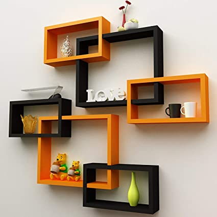 Fabulo Mdf Intersecting Shape Wall Shelves For Living Room Floating Shelf Home Decor Wall Mounted Bookcase Wooden Display Racks Bedroom Kitchen Walls Storage Unit Set Of 6 Orange And Black Amazon In Electronics