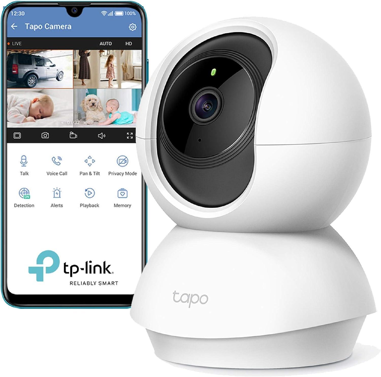 TP-Link Caméra Surveillance WiFi, Tapo camera ip 1080P sans Fil avec Vision Nocturne Détection de Mouvement, Caméra Bébé avec Audio Bidirectionnel Pan/Tilt(Tapo C200)