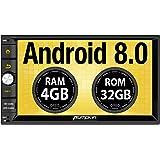 Pumpkin 2 DIN Android 8.0 Autoradio GPS Universal (Octa Core, 4GB Ram, 32GB ROM) soporta Bluetooth/USB / WiFi/Mirror-Link/Subwoofer / Mandos de Volante / 4G / AV-out
