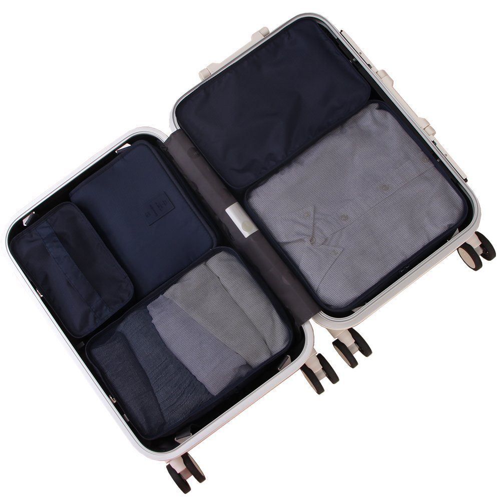 Travel Packing Cubes 7 Set, JJ POWER Luggage Organizers with toiletry kit shoe bag (5 set navy)