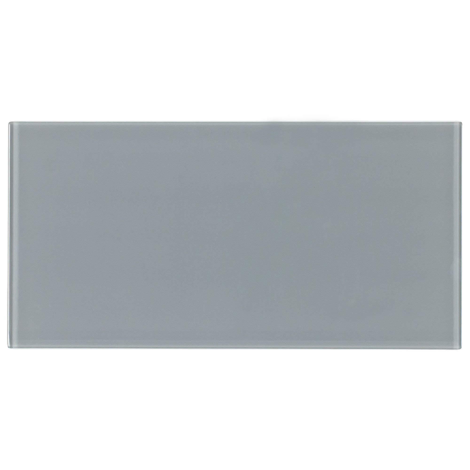 MTO0299 Classic Subway Brick Gray Glossy Glass Tile