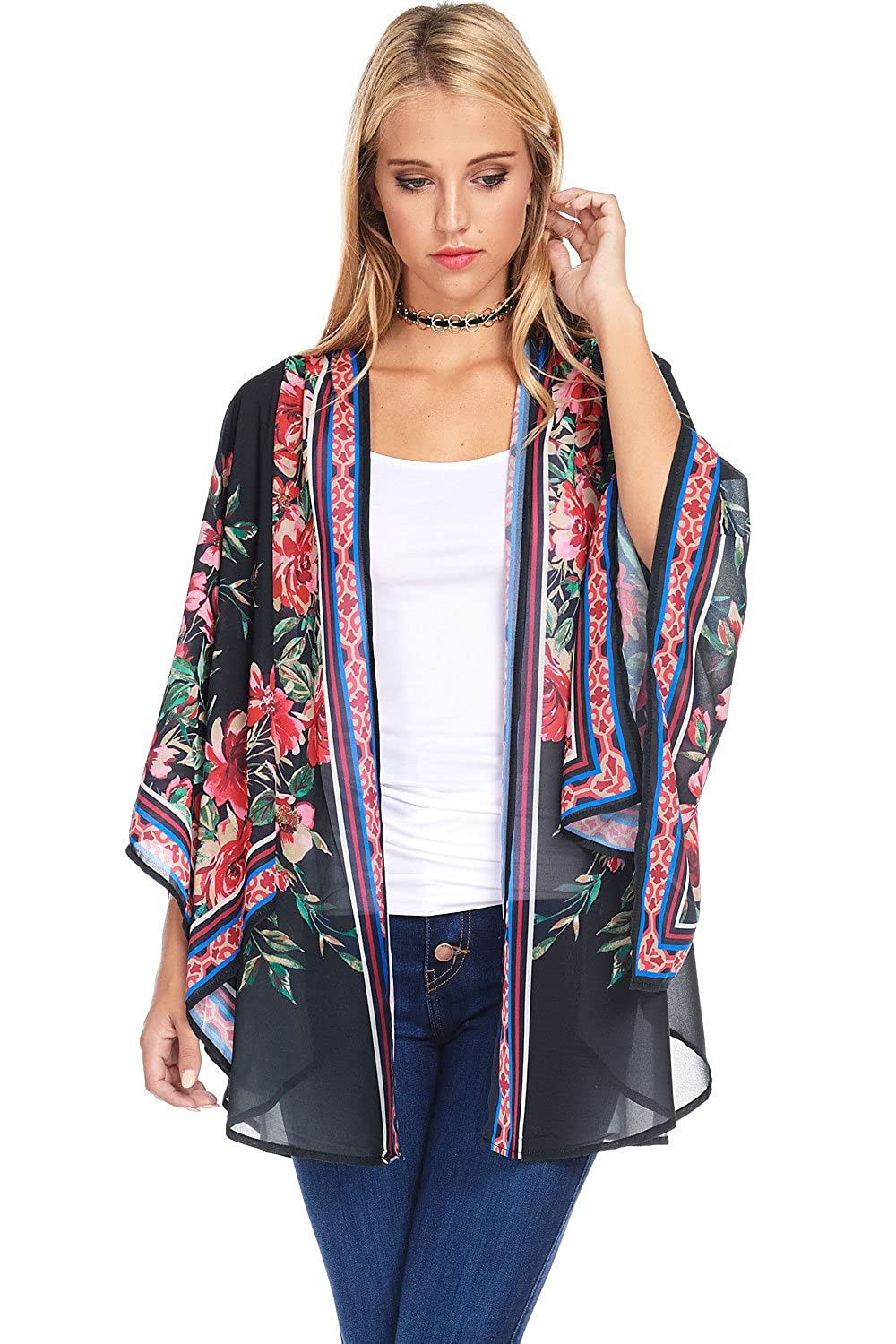 Flying Tomato Pink Ice Women's Light Chiffon Kimono Cardigan W Boho Prints by Flying Tomato