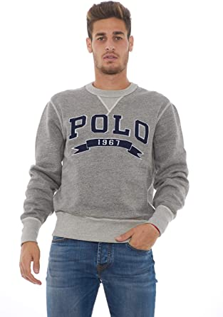 Polo Ralph Lauren Sudadera Vintage Fleece Gris (x-Larga): Amazon ...