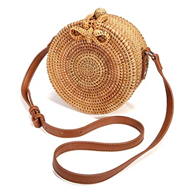 384057773afd Image Unavailable. Image not available for. Color  JOSEKO Handwoven Round  Rattan Bag
