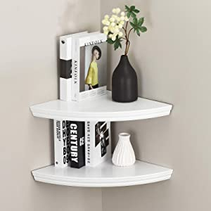 "WELLAND Modern Wall Corner Shelves, Corner Display Floating Shelf for Bedroom Office Home Décor Accents Set of 2 (11.8"")"