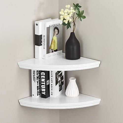 WELLAND Modern Wall Corner Shelves, Corner Display Floating Shelf for Bedroom Office Home D cor Accents Set of 2 16.5