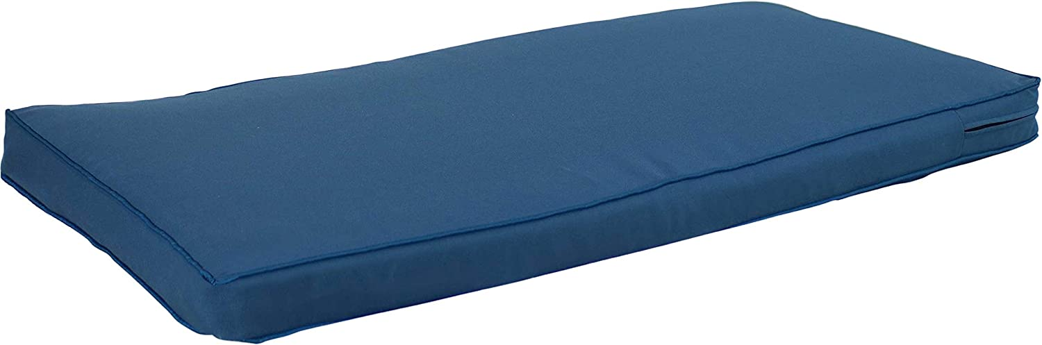 Sunnydaze Cushion for Indoor/Outdoor Bench or Porch Swing - 41-Inch x 18-Inch Weather Resistant Outside Replacement Cushion for Patio Furniture - Pad for Garden and Deck Seating - Blue