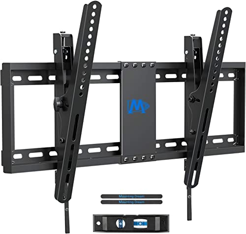 Mounting Dream TV Wall Mounts, TV Mount Low Profile for Most 37-70 inch TVs, Tilting TV Wall Mount with Max VESA 600x400mm, Fits 16 , 18 , 24 Studs and 132lbs, Easily Adjust Level after Installation