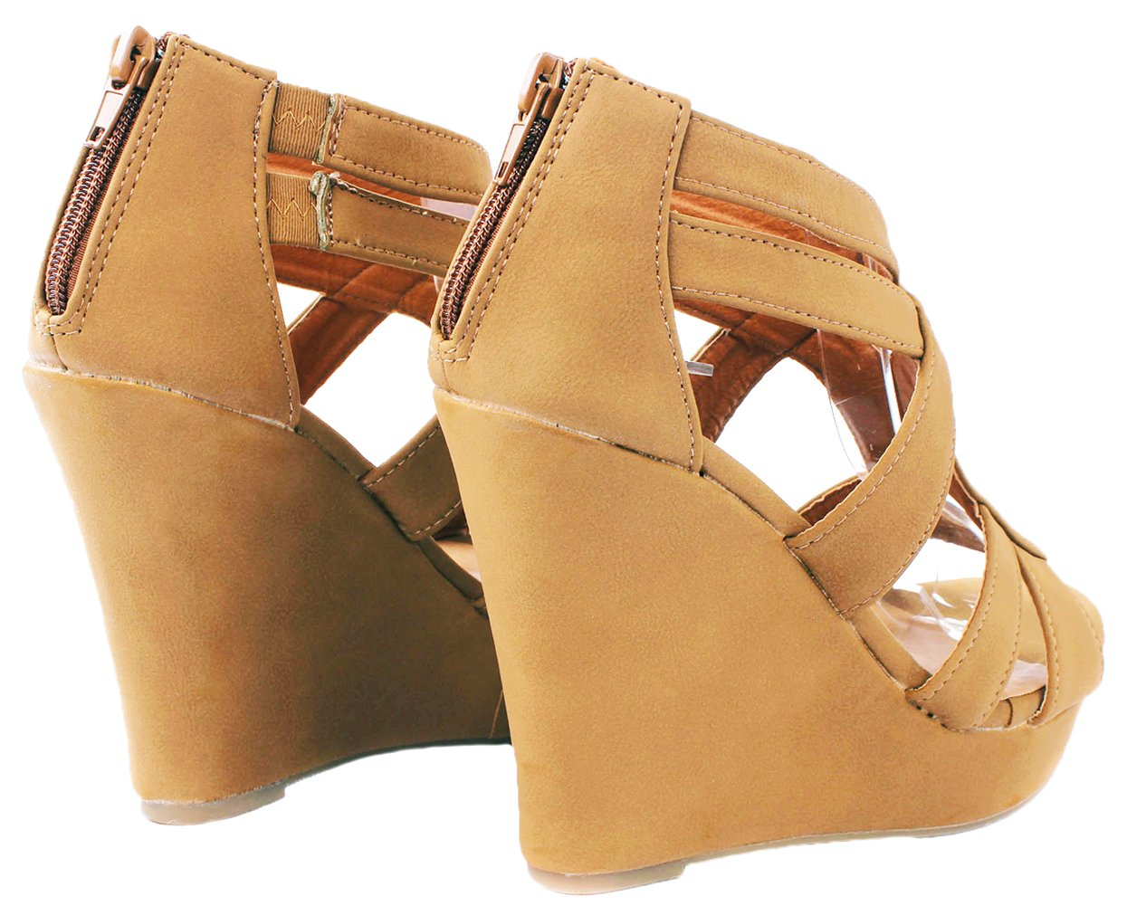 Women Lindy Comfort Gladiator Strappy Faux Leather/Nubuck Dress Platform High B(M) Wedge Sandals B071PF52NN 8.5 B(M) High US|Tan_l3 266d94