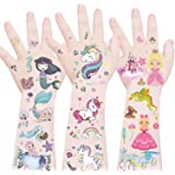 Mocossmy Unicorn+Mermaid+Princess Temporary Tattoos for Kids,Waterproof Fake Tattoo Sticker,Children's Party Favors…