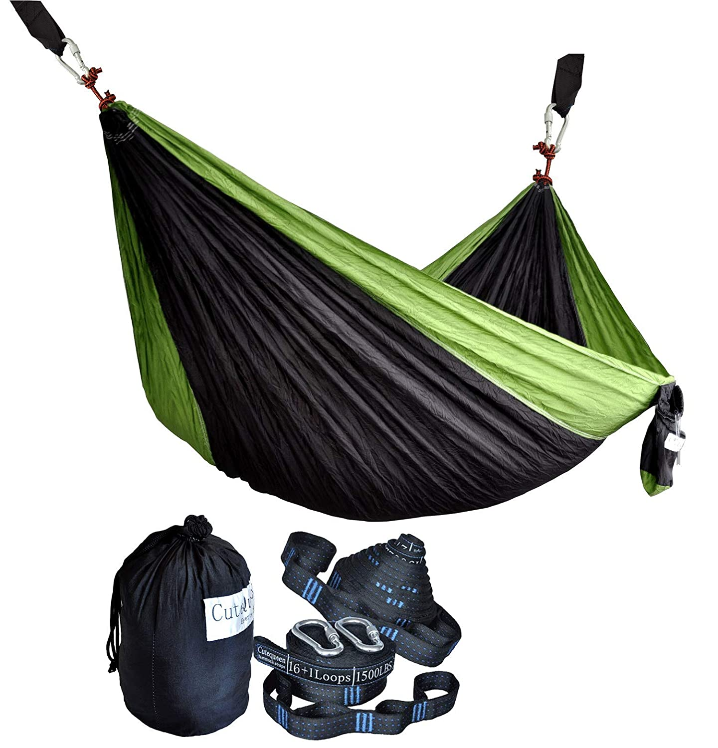 Cutequeen Double Nest Nylon Fabric Hammock with Multi Loops Tree Straps Black Fruit Green
