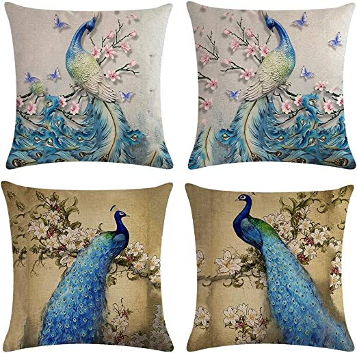 18x18 inches Square Pillowcase Cushion Case Throw Pillow Cover with Invisible Zipper Closure One-sided Print Peacock Art Cushion Case