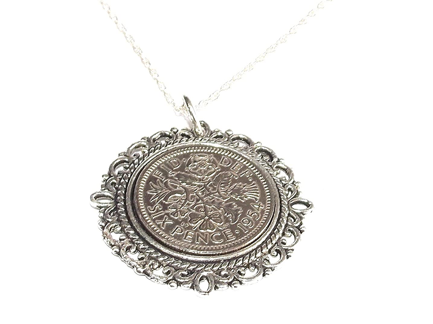 Anniversary sixpence coin Floral pendant plus 18inch chain Sixpence Birthday