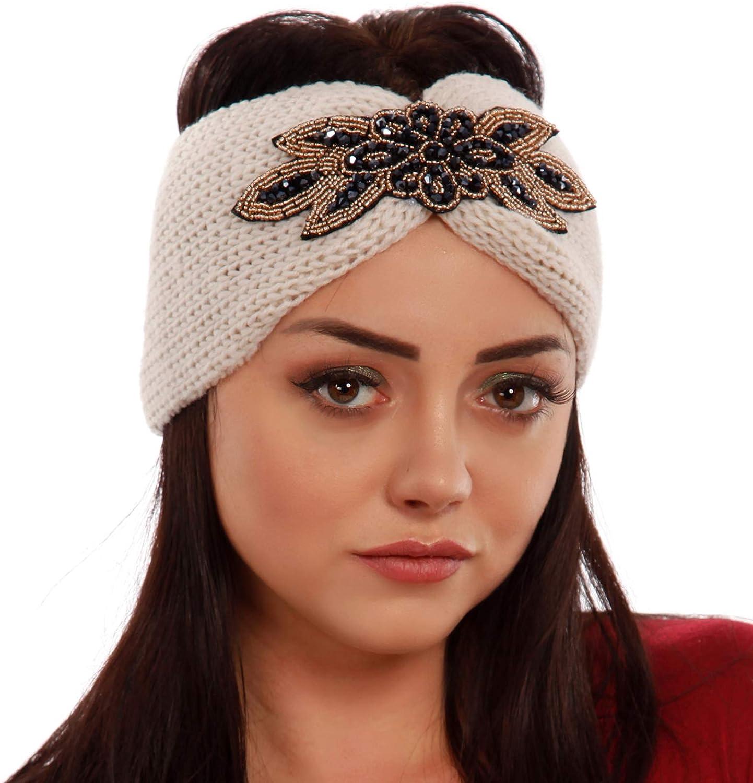 Luxus Stirnband Strass und Perlen Haarband Kopfband Hairband Haarschmuck Schwarz