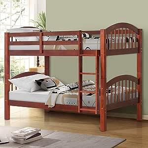 Litera individual sobre cama individual, madera de pino de JULYFOX, 580 libras, marco de cama resistente con cabecero de cama, no necesita caja, marco de litera con escalera de almacenamiento, para niños