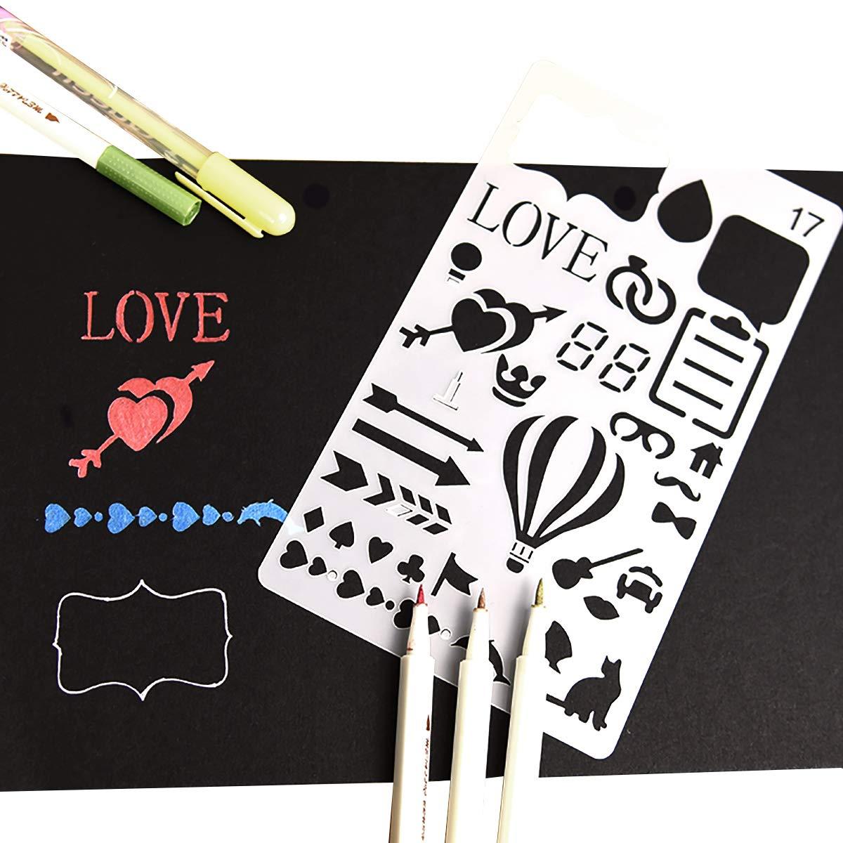 Plantillas de Dibujo Plantillas de Escala kit de Dibujo de Pl/ástico Reutilizable para Scrapbooking DIY /álbumes Tarjeta 20 Piezas