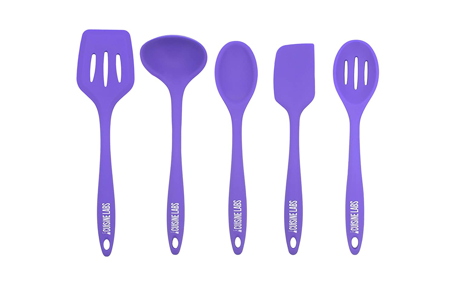 Heat Resistant 1 Spatula FDA Approved materials. 1 Slotted Spoon 1 Turner BPA Free 1 Ladle 5-Piece Silicone Kitchen Utensils Set by Cuisine Labs 1 Spoon