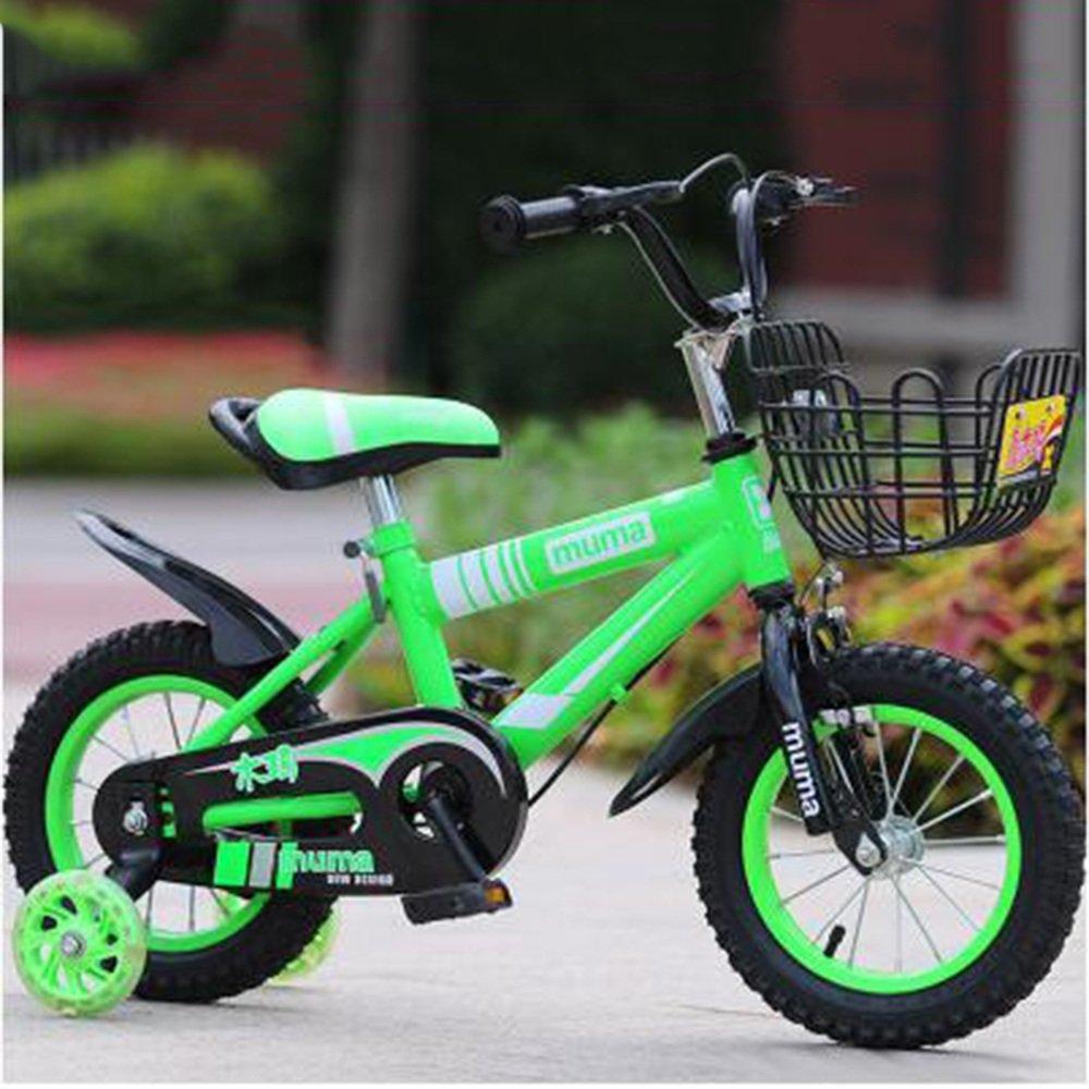 YANGFEI 子ども用自転車 ボーイズキッズバイクグリーン/ブルー/レッド/イエロー12インチ、14インチ、16インチ、18インチ 212歳 B07DWYQ75Z 12 inch|緑 緑 12 inch