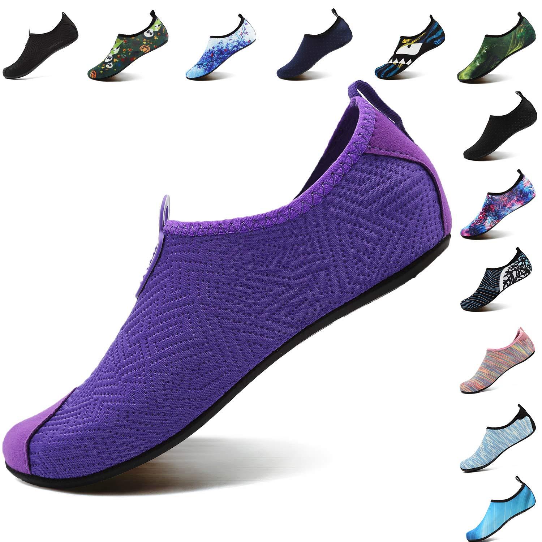 VIFUUR Footwear Indoor Slipper Yoga Sock Shoes Comfort Water Shoes for Men Women C Purple 38/39