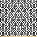 Damask Decor Fabric by the Yard by Ambesonne, Damask Pattern Classical Monochromic Illustration Antique Decorating Art Print, Decorative Fabric for Upholstery and Home Accents Black White